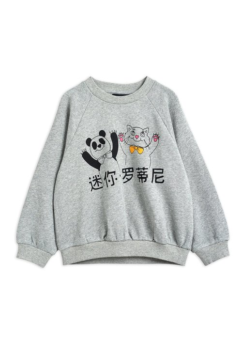 Mini Rodini Mini Rodini Cat and Panda SP Sweatshirt Grey Melange