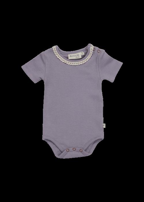Blossom Kids Blossom Kids Body Short Sleeve With Lace Soft Rib Lavender Gray