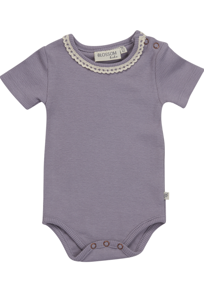 Blossom Kids Body Short Sleeve With Lace Soft Rib Lavender Gray
