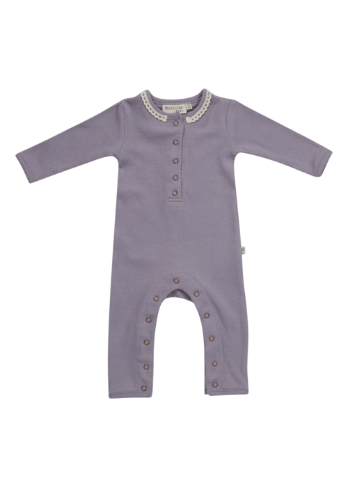 Blossom Kids Blossom Kids Playsuit soft rib Lavender Gray with lace