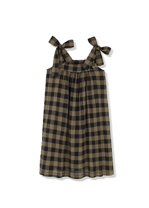 Kids on the Moon Kids on the Moon Khaki Classic Check Bow Dress