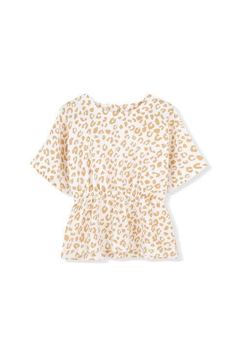 Kids on the Moon Kids on the Moon Golden Leopard Peplum Blouse