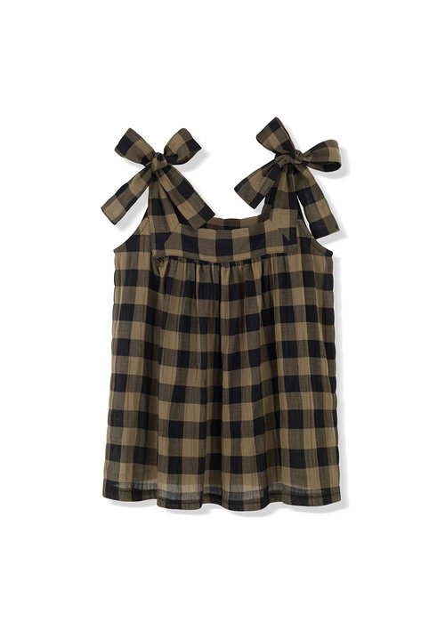 Kids on the Moon Kids on the Moon Khaki Classic Check Bow Top