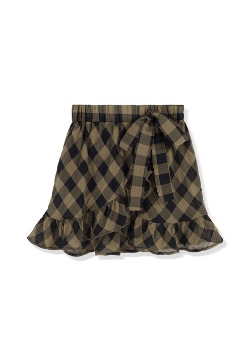 Kids on the Moon Kids on the Moon Khaki Classic Check Frill Skirt