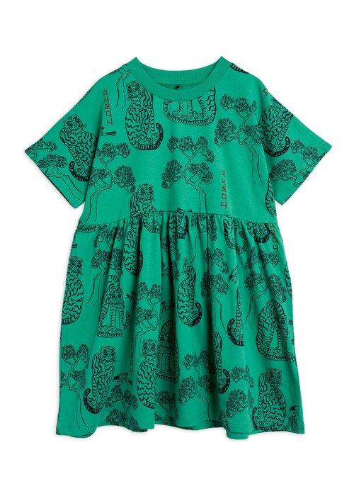 Mini Rodini Mini Rodini Tigers aop SS Dress Green