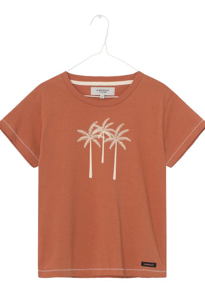 A Monday in Copenhagen Palm T-shirt Rust