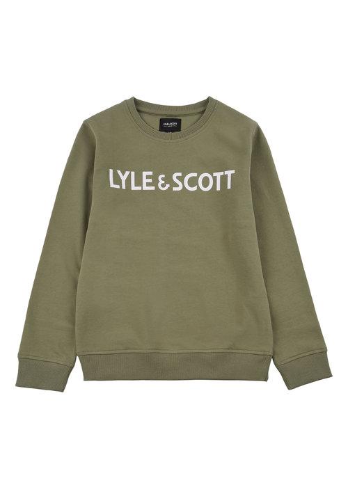 Lyle & Scott Lyle & Scott Text LB Crew Sweat Oil Green
