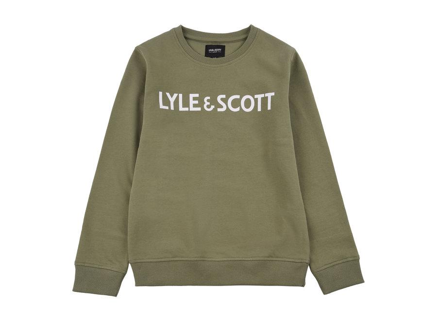 Lyle & Scott Text LB Crew Sweat Oil Green