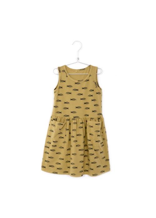 Lötiekids Lötiekids Dress Sleeveless Pockets Fishes Sun Yellow