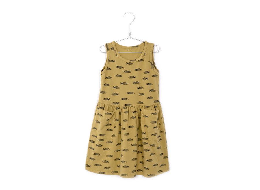 Lötiekids Dress Sleeveless Pockets Fishes Sun Yellow