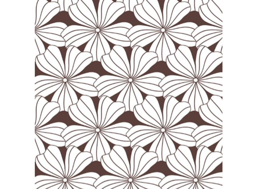 Swedish Linens FLOWERS Dark Chocolate Fitted Toddler Bed Sheet 70x160cm