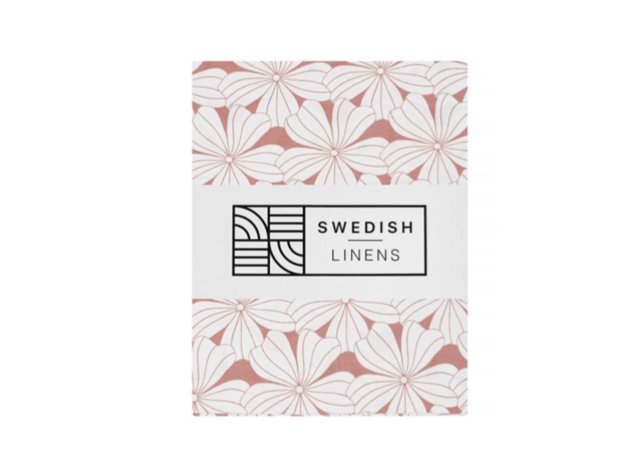 Swedish Linens FLOWERS Terracotta Pink Fitted Toddler Bed Sheet 70x160cm