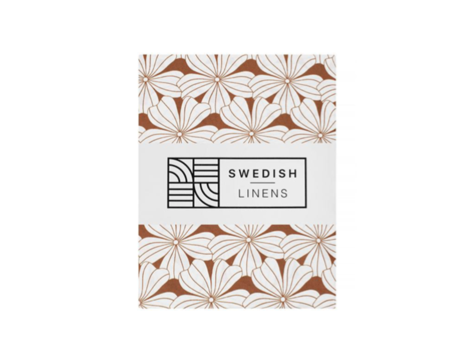 Swedish Linens FLOWERS Cinnamon Brown Fitted Toddler Bed Sheet 70x160cm