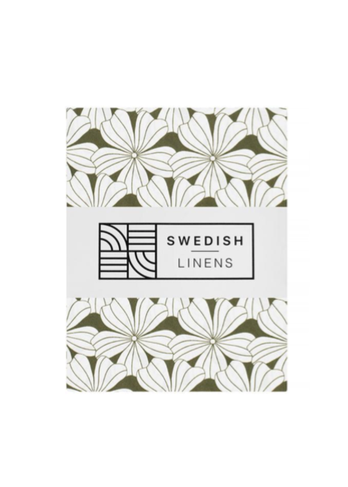 Swedish Linens Swedish Linens FLOWERS Olive Green Fitted Single Bed Sheet 90x200cm