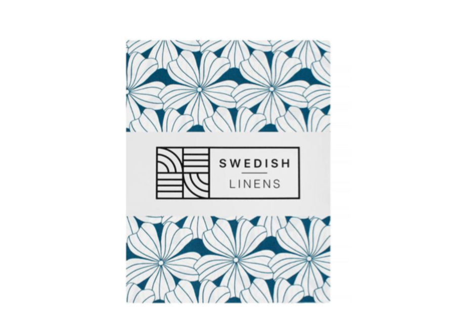 Swedish Linens FLOWERS Moroccan Blue Fitted Single Bed Sheet 90x200cm