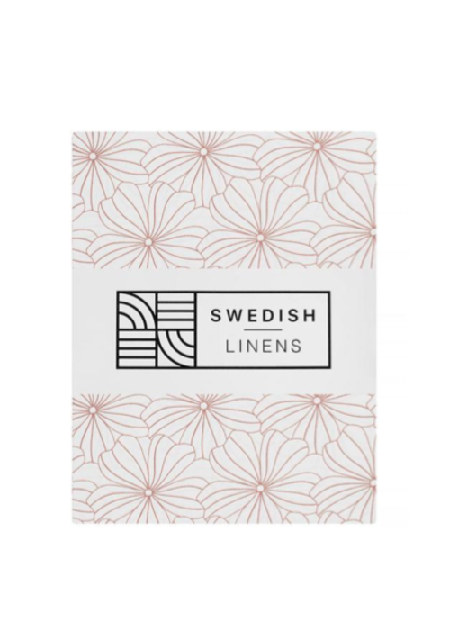Swedish Linens Swedish Linens FLOWERS White Fitted Single Bed Sheet 90x200cm