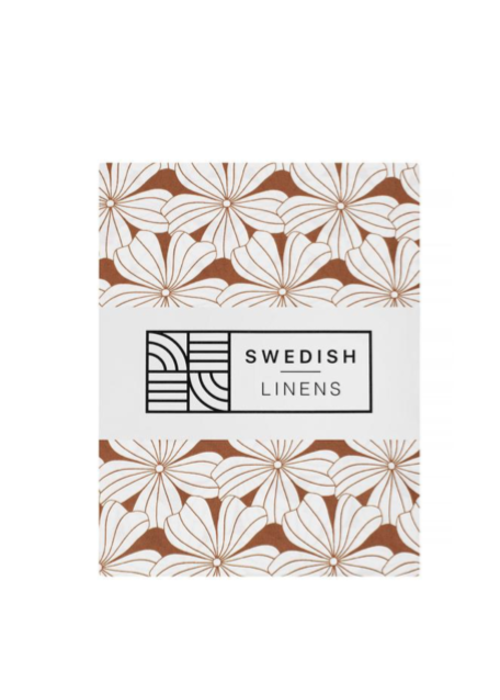Swedish Linens Swedish Linens FLOWERS Cinnamon Brown Fitted Single Bed Sheet 90x200cm