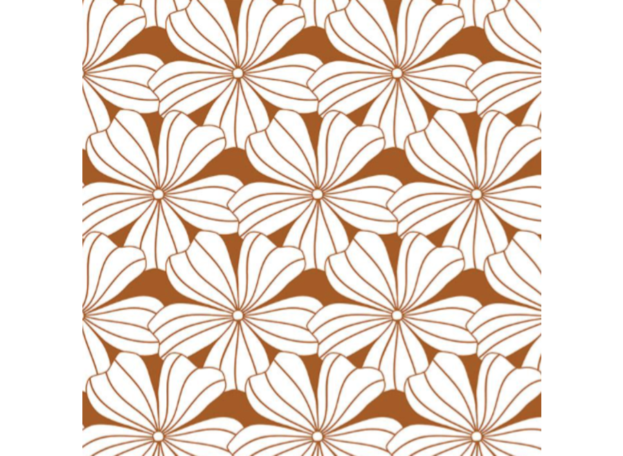 Swedish Linens FLOWERS Cinnamon Brown Fitted Single Bed Sheet 90x200cm