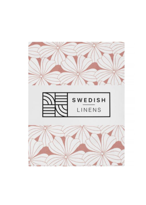 Swedish Linens Swedish Linens FLOWERS Terracotta Pink Fitted Single Bed Sheet 90x200cm