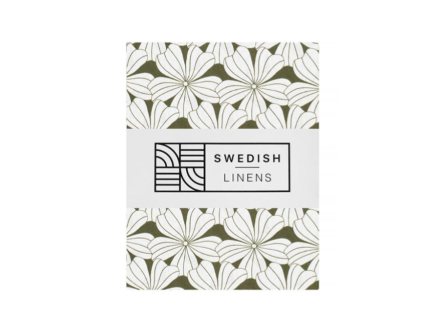 Swedish Linens FLOWERS Olive Green 180x200 cm Double Fitted Sheet