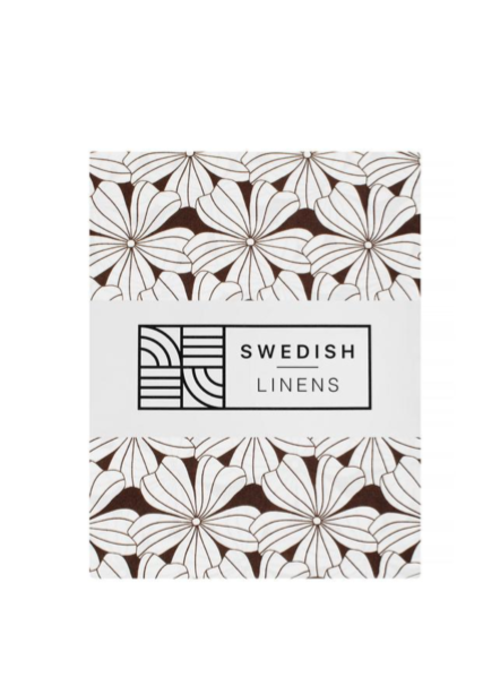 Swedish Linens Swedish Linens FLOWERS Dark Chocolate 180x200 cm Double Fitted Sheet