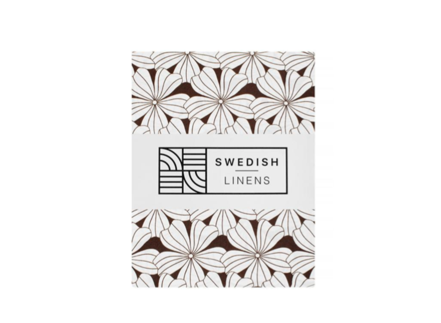 Swedish Linens FLOWERS Dark Chocolate 180x200 cm Double Fitted Sheet