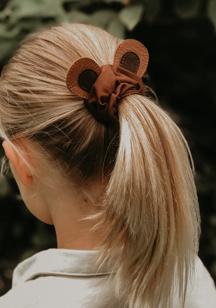 Donsje Polly Hairscrunchie Bear Cognac Classic Leather