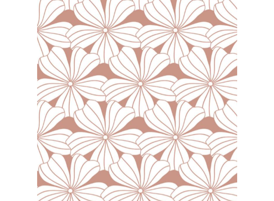 Swedish Linens FLOWERS Terracotta Pink 180x200 cm Double Fitted Sheet