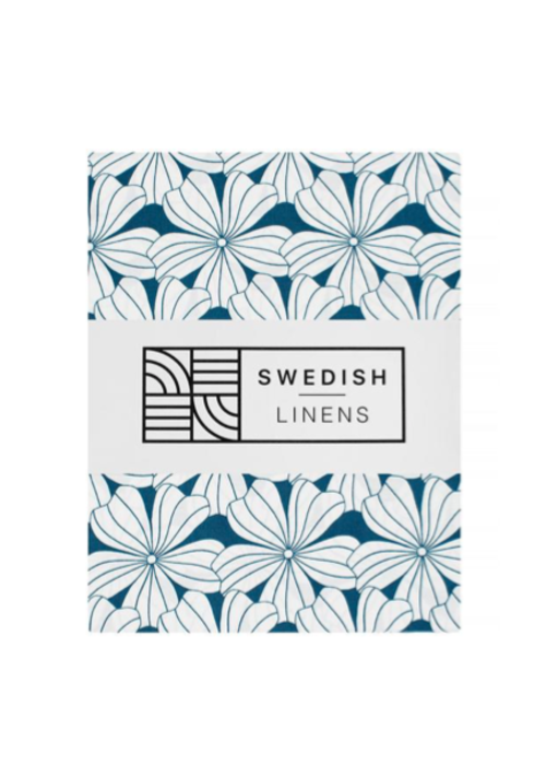 Swedish Linens Swedish Linens FLOWERS Moroccan Blue 180x200 cm Double Fitted Sheet