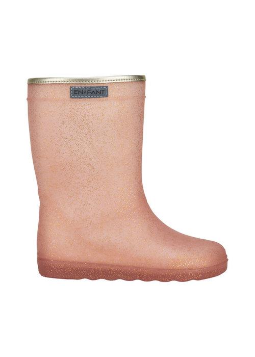 Enfant Enfant Rubber Rain Boot Glitter Cameo Rose