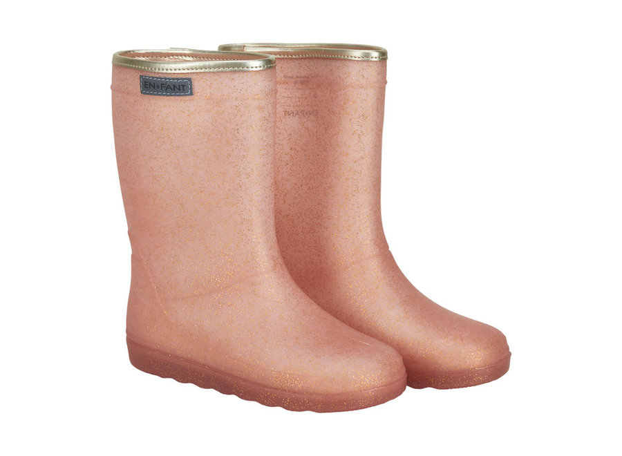 Enfant Rubber Rain Boot Glitter Cameo Rose