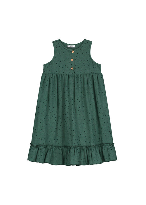 Daily Brat Daily Brat Moon Polka Dress Juniper Green