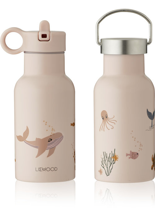 Liewood Liewood Anker Water Bottle Sea Creatures Rose Mix