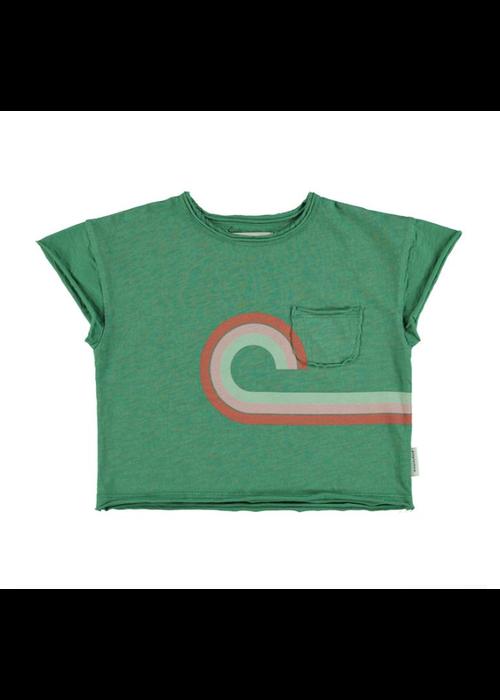 "PiuPiuChick PiuPiuChick T-Shirt Green Multicolor ""at the movies"" Print"