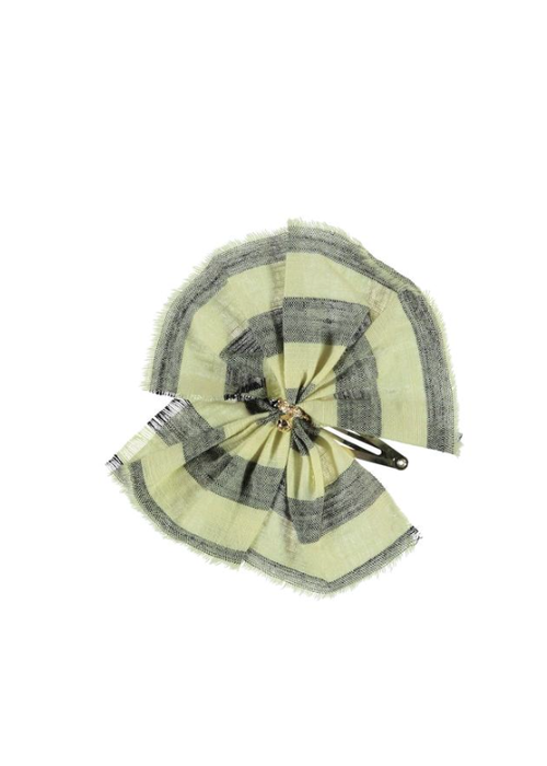 PiuPiuChick PiuPiuChick Hair Clip Yellow with Grey stripes