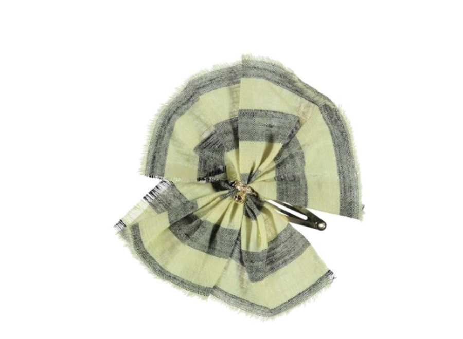 PiuPiuChick Hair Clip Yellow with Grey stripes