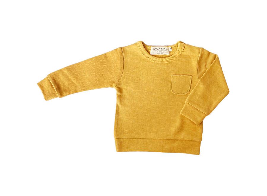 Broer en Zus Sweater Pocket Mustard