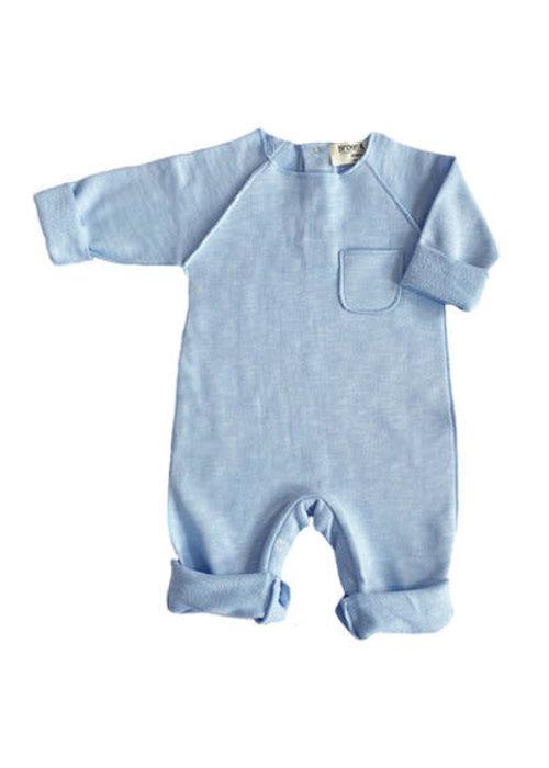 Broer en Zus Broer en Zus Babysuit Pocket Light Blue