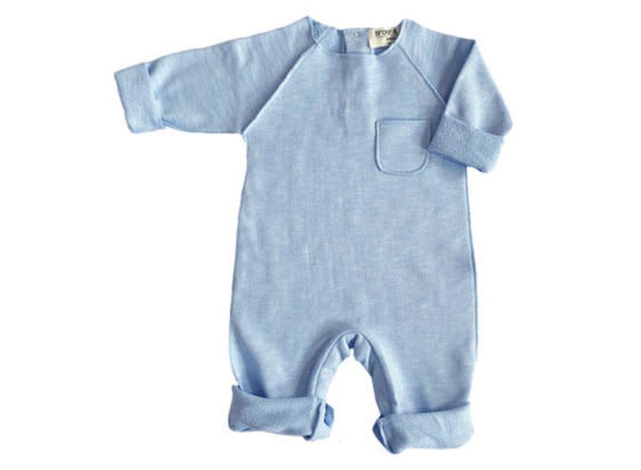 Broer en Zus Babysuit Pocket Light Blue