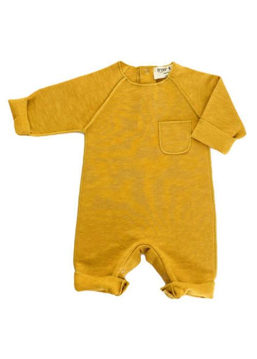 Broer en Zus Broer en Zus Babysuit Pocket Mustard