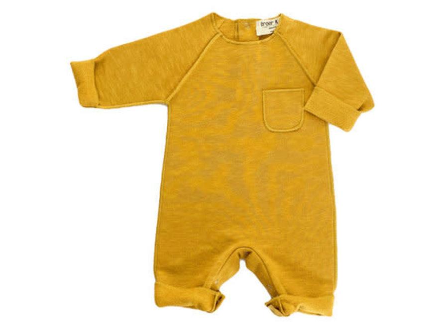Broer en Zus Babysuit Pocket Mustard