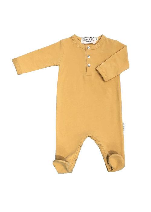 Broer en Zus Broer en Zus Babysuit Buttons with Feet Mustard