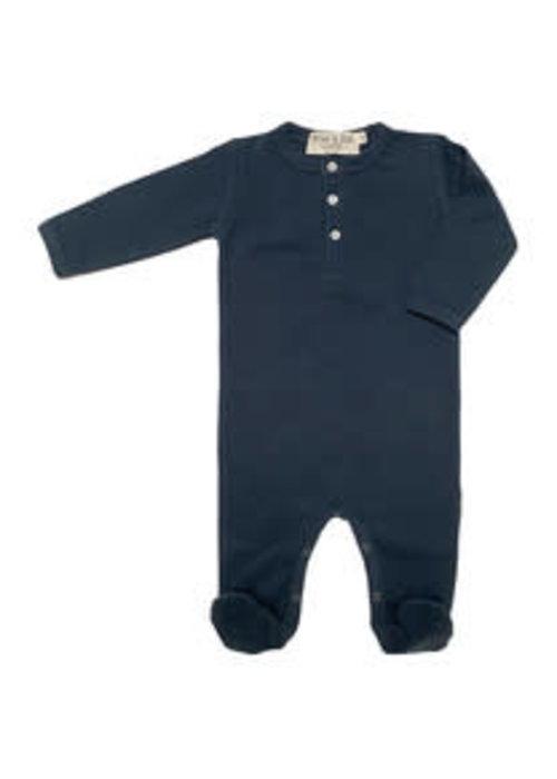 Broer en Zus Broer en Zus Babysuit Buttons with Feet Navy