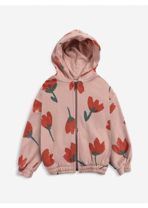 Bobo Choses Bobo Choses Big Flowers All Over zipped hoodie