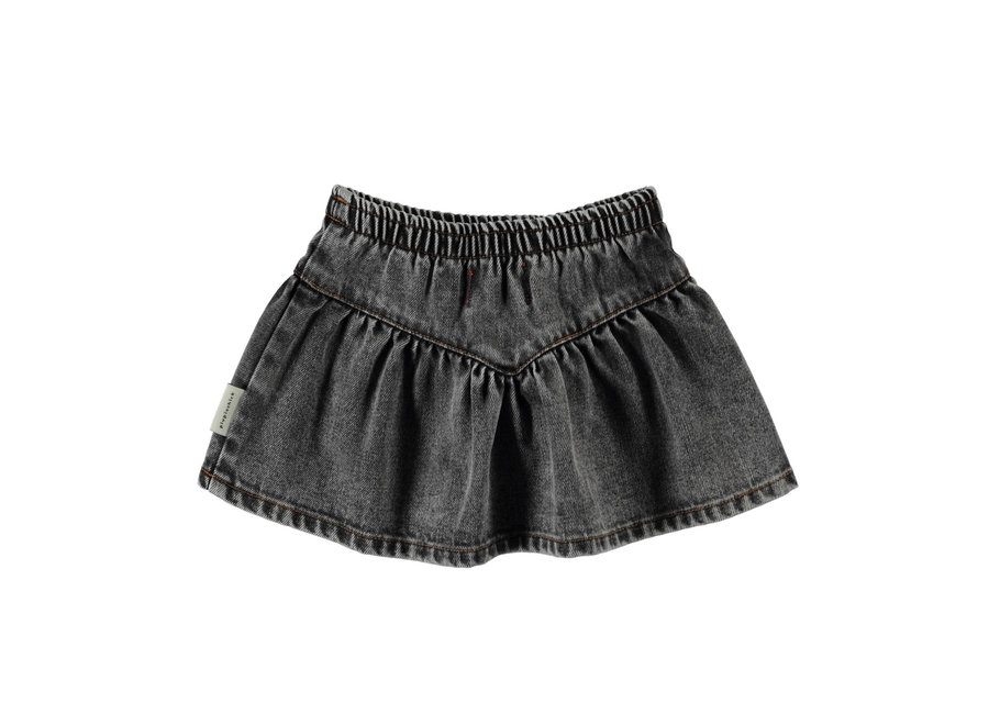 PiuPiuChick Short Skirt 'v' shape washed black denim