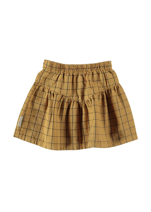 PiuPiuChick PiuPiuChick Short Skirt 'v' shape camel checkered