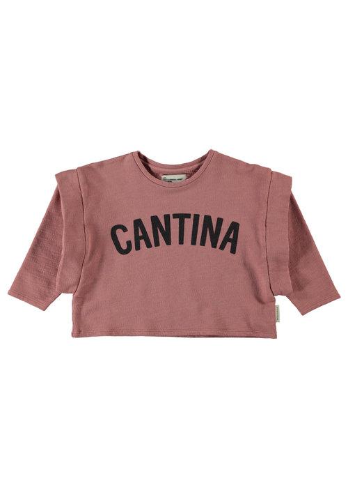 """PiuPiuChick PiuPiuChick Long Sleeve old pink w/ """"cantina"""" print"""