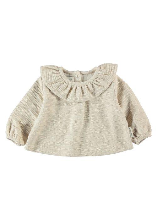 PiuPiuChick PiuPiuChick Round Collar Blouse ecru textured jersey