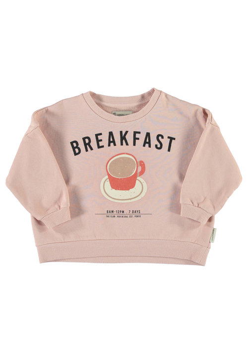 PiuPiuChick PiuPiuChick Unisex Sweatshirt light pink w/ breakfast print