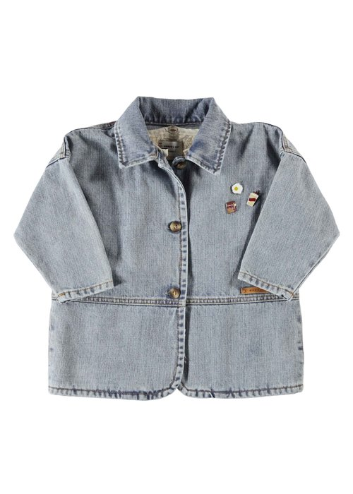 PiuPiuChick PiuPiuChick Denim Jacket washed light blue denim w/ pins & back print